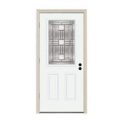 32 in. x 80 in. 1/2 Lite Cordova White Painted Steel Prehung Right-Hand Outswing Front Door w/Brickmould