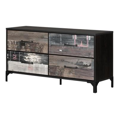 Valet 4-Drawer Ebony and Factory Planks Effect Dresser 29.5 in X 57 in X 18.25 in