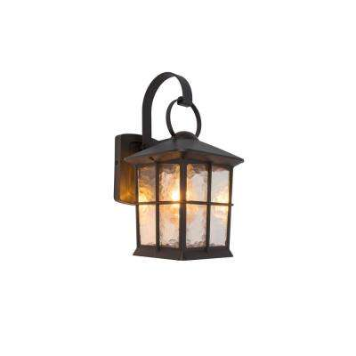 1-Light Bronze Outdoor Wall Mount Lantern with Water Glass