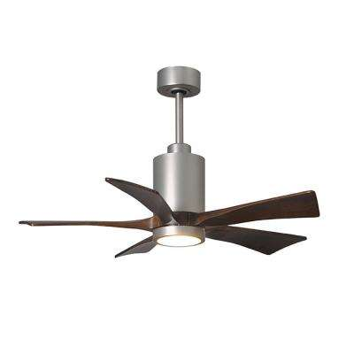 Patricia 42 in. LED Indoor/Outdoor Damp Brushed Nickel Ceiling Fan with Remote Control, Wall Control