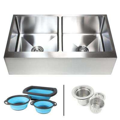 Farmhouse Apron 16-Gauge Stainless Steel 36 in. Flat Front 50/50 Offset Double Bowl Kitchen Sink w Silicone Colanders