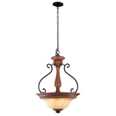 Elysia Collection 3-Light Antiqued Gold Pendant with Elegant Iridescent Amber Glass Shade