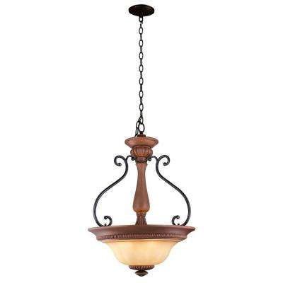 elysia collection 3light antiqued gold pendant with elegant iridescent amber glass shade