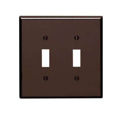 2-Gang 2-Toggle Oversized Plastic Wall Plate, Brown