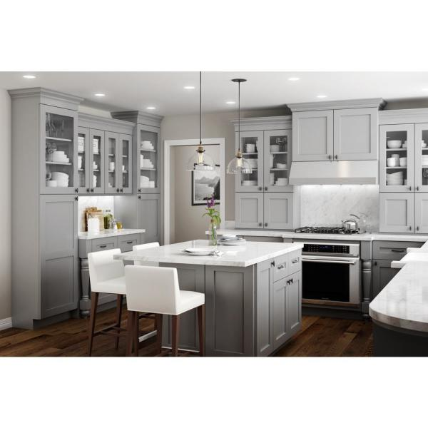 Home Decorators Collection Tremont Assembled 12x34 5x24 In Plywood Shaker Base Pullout Pantry Kitchen Cabinet In Painted Pearl Gray Bppo12 Tpg The Home Depot