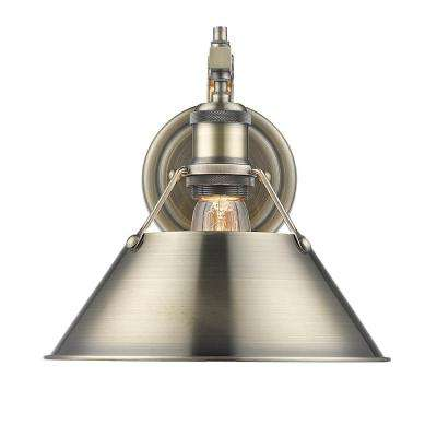 Orwell AB 1-Light Aged Brass Sconce with Aged Brass Shade
