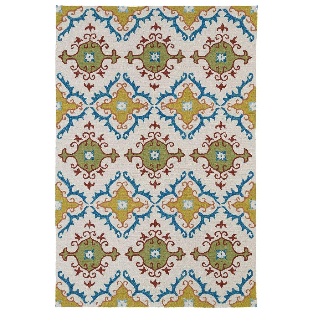 Kaleen Home and Porch Ivory 7 ft. 6 in. x 9 ft. Indoor/Outdoor Area Rug