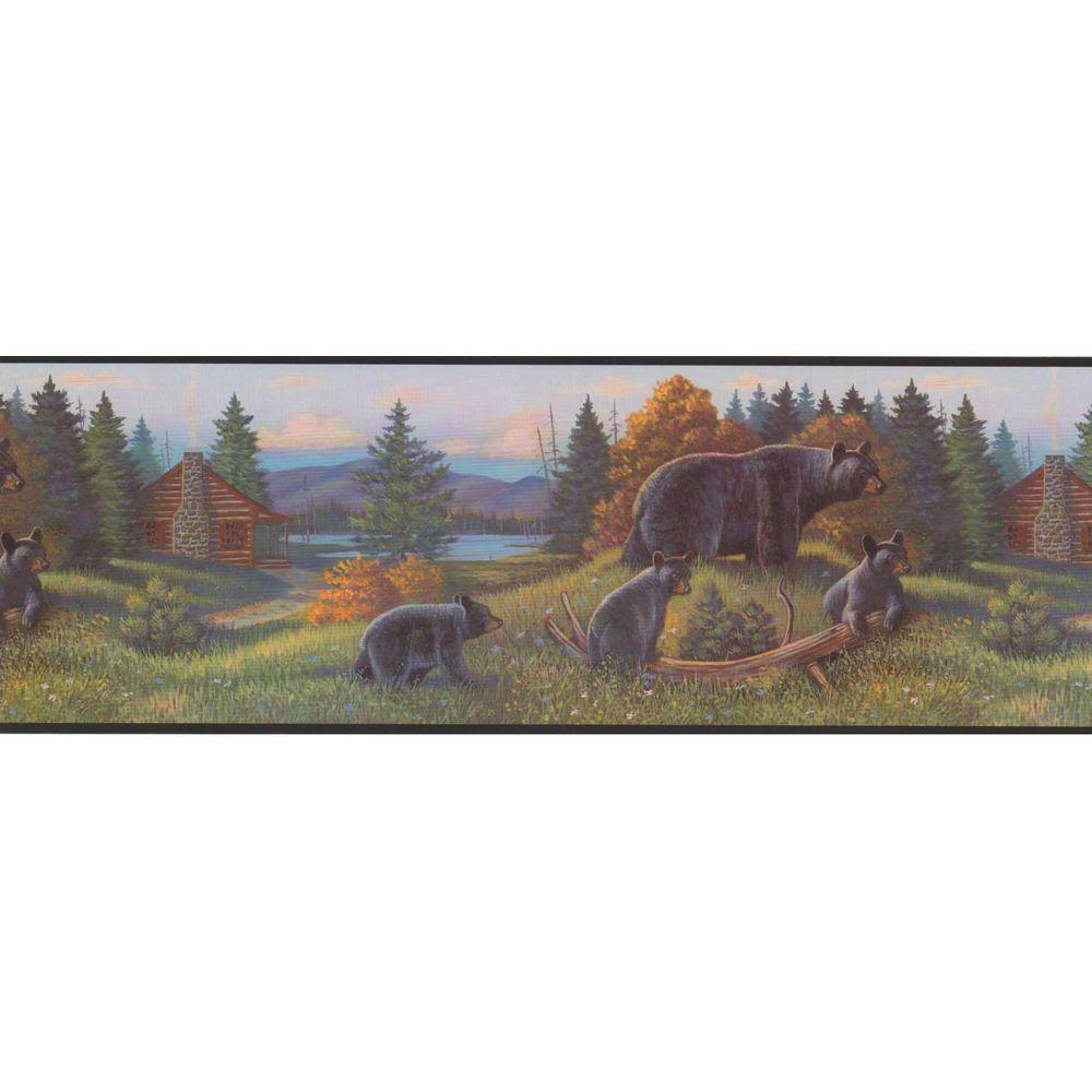 York Wallcoverings Lake Forest Lodge Black Bear Wallpaper Border