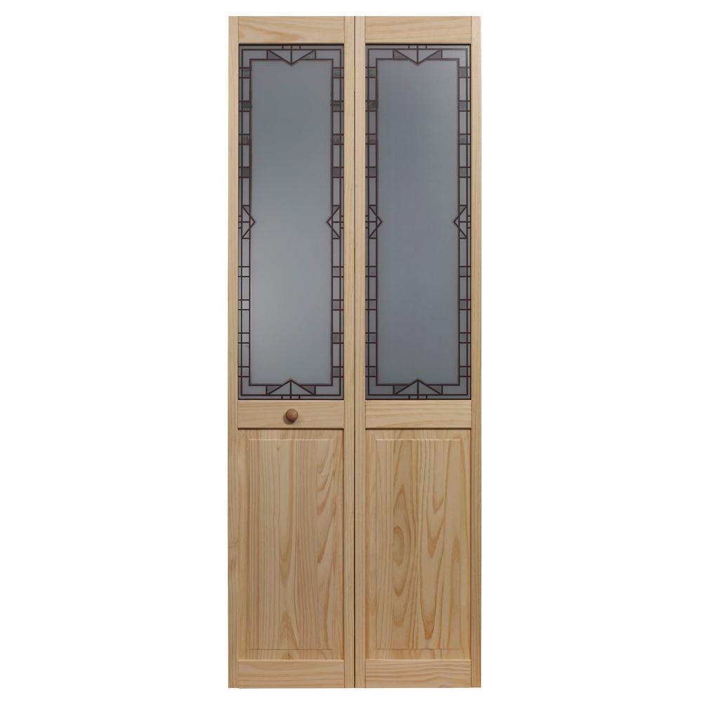 32 in. x 80 in. Design Tech Glass Over Raised Panel Pine Interior Bi-fold Door