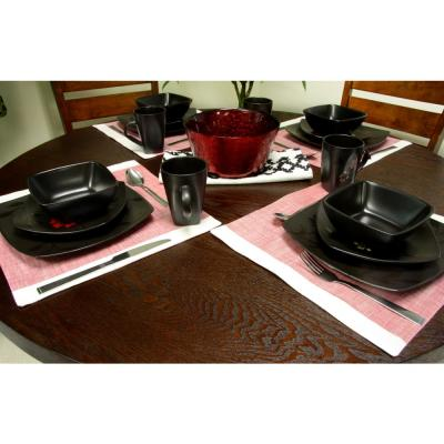 Evening Blossom 16-Piece Casual Black Stoneware Dinnerware Set (Service for 4)
