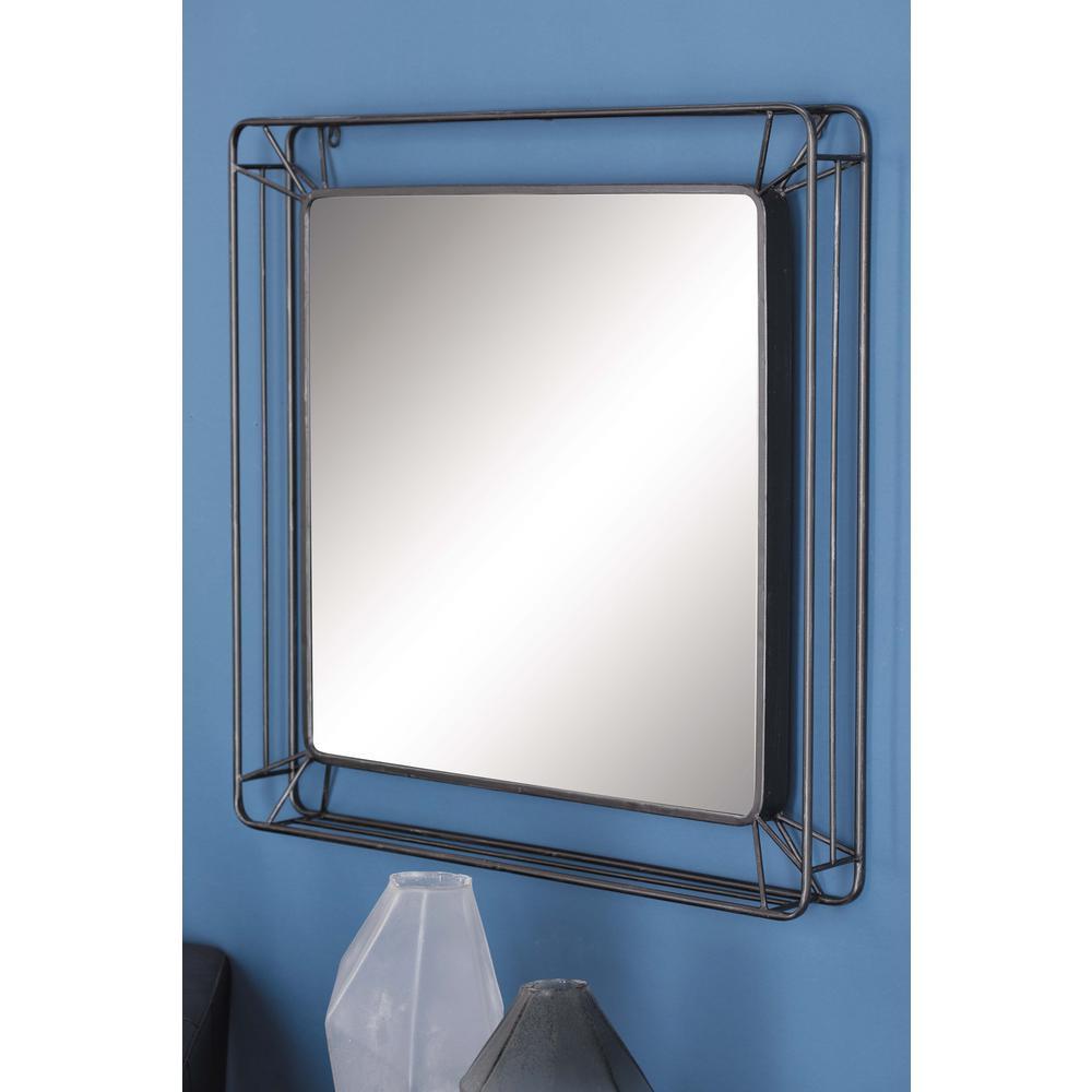 Medium Square Black Modern Mirror (31 in. H x 31 in. W)
