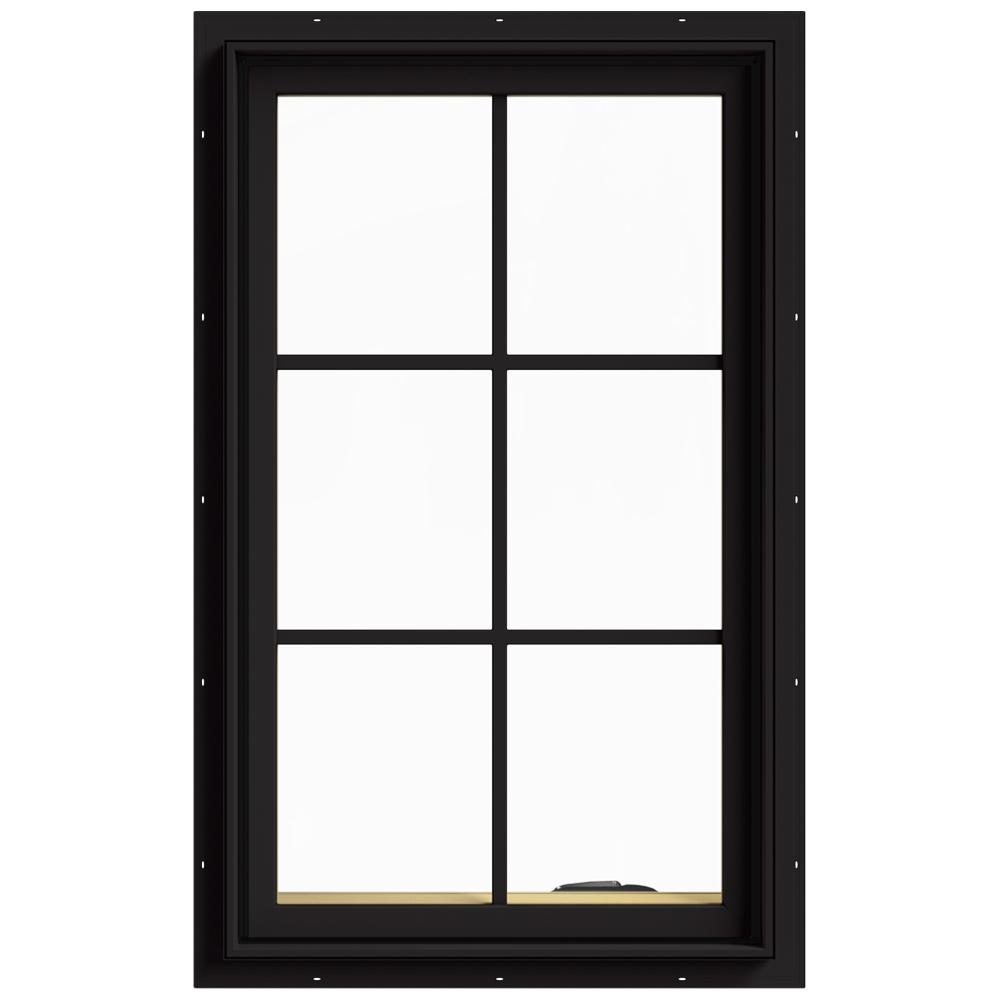 JELD-WEN 24 in. x 40 in. W-2500 Series Black Painted Clad Wood Right-Handed Casement Window with Colonial Grids/Grilles