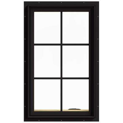 24 in. x 40 in. W-2500 Series Black Painted Clad Wood Right-Handed Casement Window with Colonial Grids/Grilles