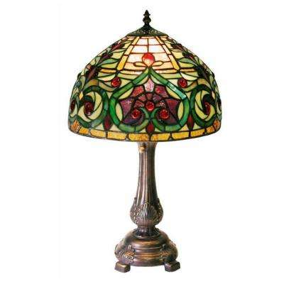 18 in. Jeweled Petite Multicolored Bronze Table Lamp