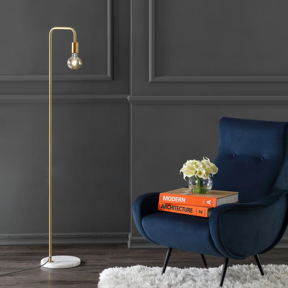 Vega 60 in. Minimalist Edison Metal/Marble Floor Lamp, Brass Gold