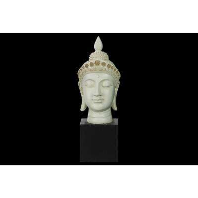 14.5 in. H Buddha Decorative Sculpture in White Gloss Finish