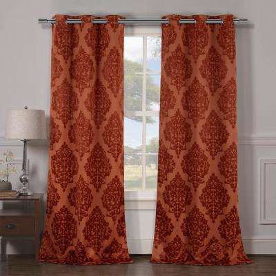 Catalina 38 in. x 84 in. L Polyester Blackout Curtain Panel in Rust (2-Pack)