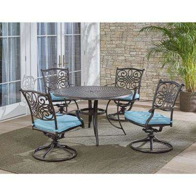 Traditions 5-Piece Outdoor Round Patio Dining Set and 4 Swivel Rockers with Blue Cushions