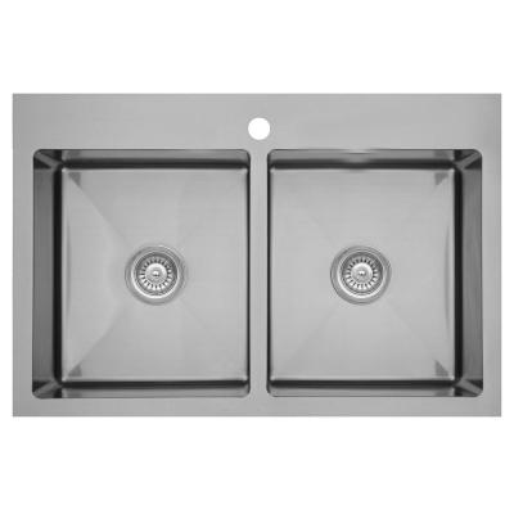 Elite Top Mount Stainless Steel 33 in. 16-Gauge Double Bowl Drop-in Kitchen Sink
