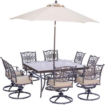 9-Piece Outdoor Dining Set with Square Glass-Top Table and Swivels with Natural Oat Cushions, Umbrella and Base
