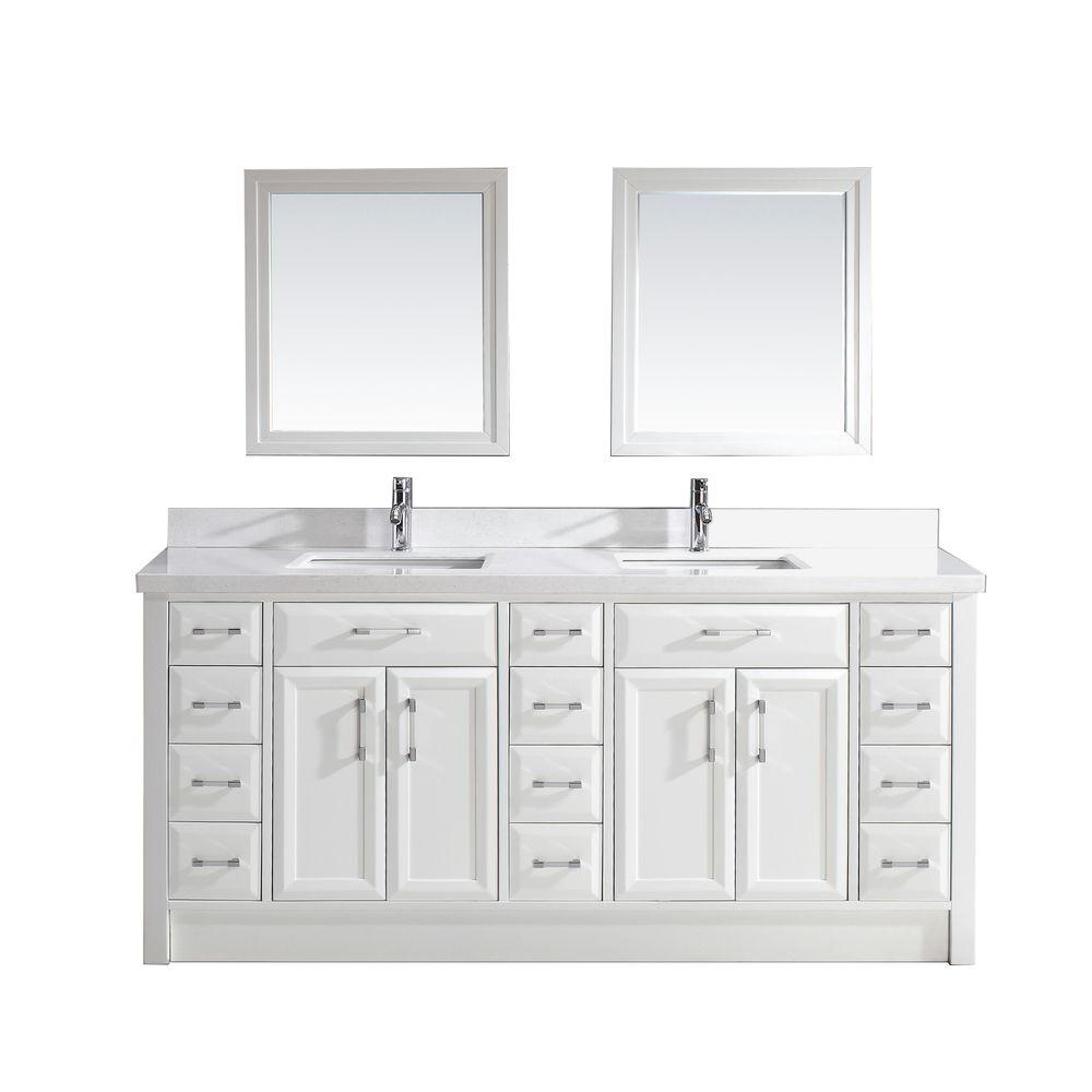 Studio Bathe Calais 75 in. W x 22 in. D Vanity in White with Solid Surface Marble Vanity Top in Carrara White and Mirror