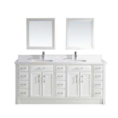 Calais 75 in. W x 22 in. D Vanity in White with Solid Surface Marble Vanity Top in Carrara White and Mirror