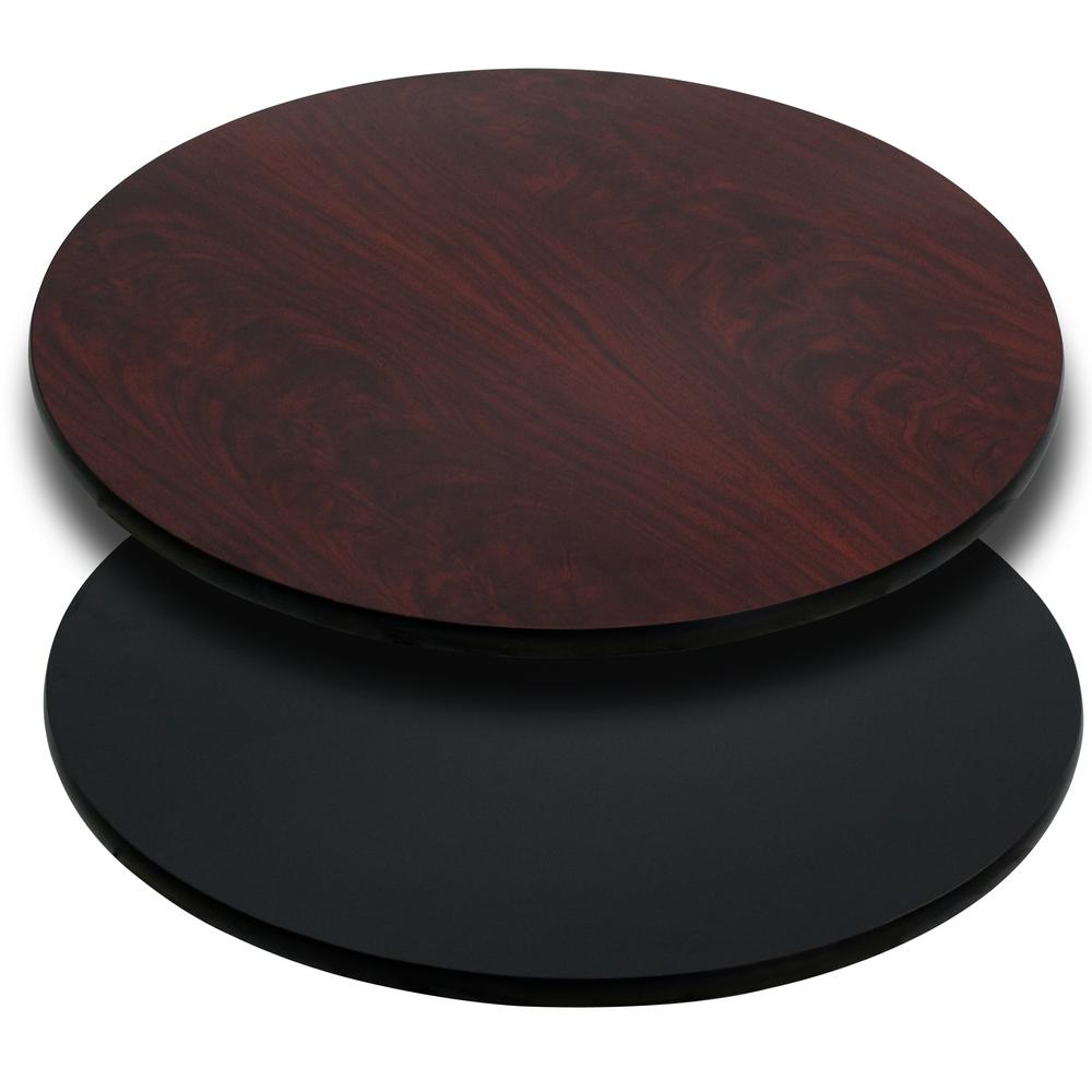 Wonderful Round Table Top With Black Or Mahogany Reversible Laminate Top