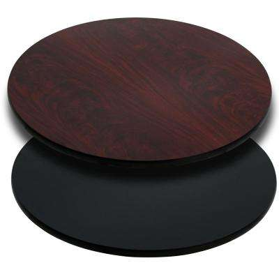 42 in. Round Table Top with Black or Mahogany Reversible Laminate Top