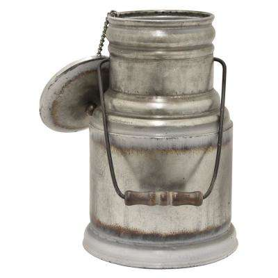 17 in. Gray Galvanized Container with Lid