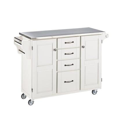 Create-a-Cart White Kitchen Cart with Stainless Top