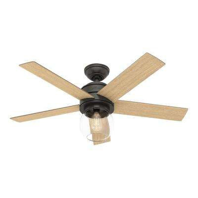 Leander 46 in. LED Indoor Noble Bronze Ceiling Fan with Light Kit and Handheld Remote Control