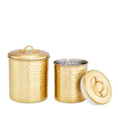 Decor Champagne Hammered Canister Set (Set of 2)