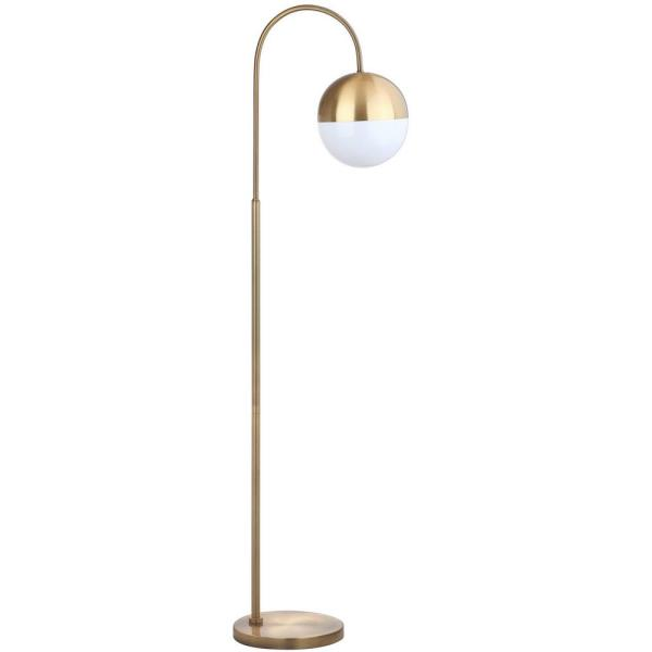 Safavieh Jonas 55 5 In Brass Gold Floor Lamp With White Gold Globe Shade Fll4018a The Home Depot