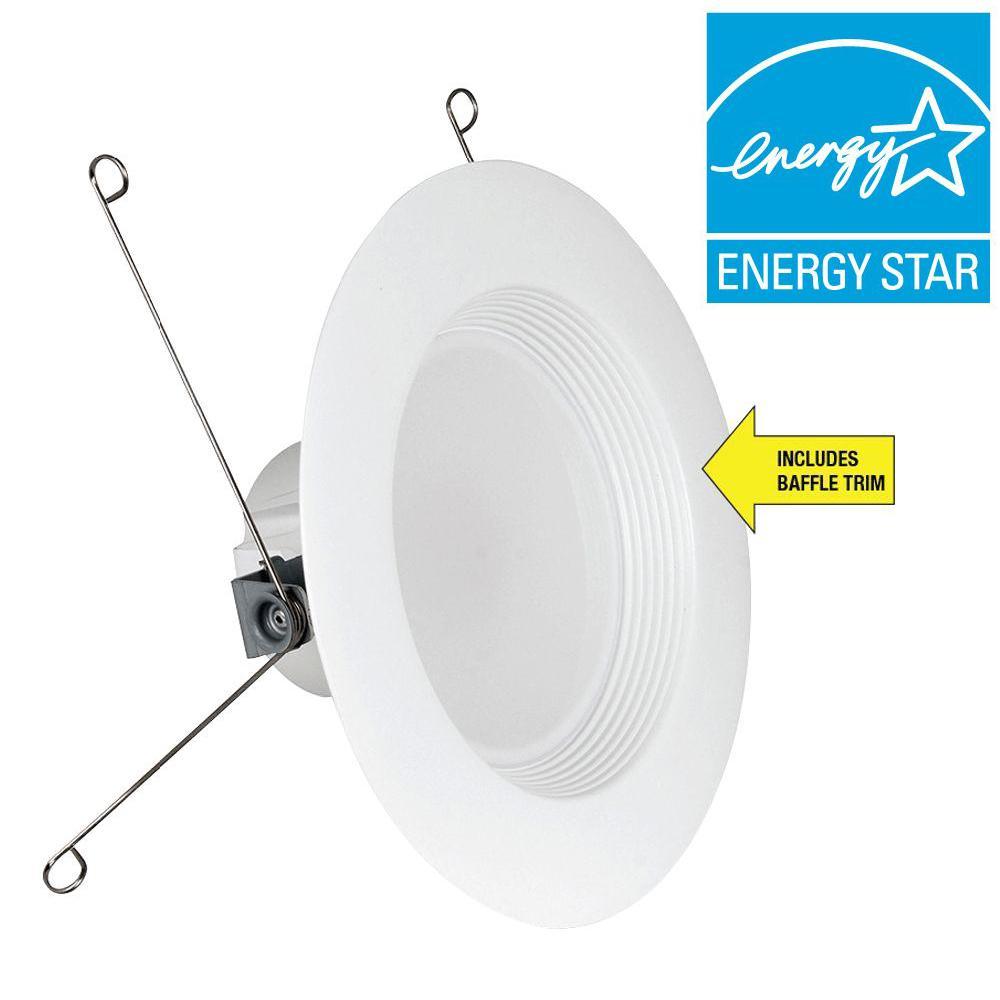 75W Equivalent Soft White 5/6 in. White Baffle-Trim Recessed Retrofit Downlight LED 90 CRI Maintenance Pack (6-Pack)