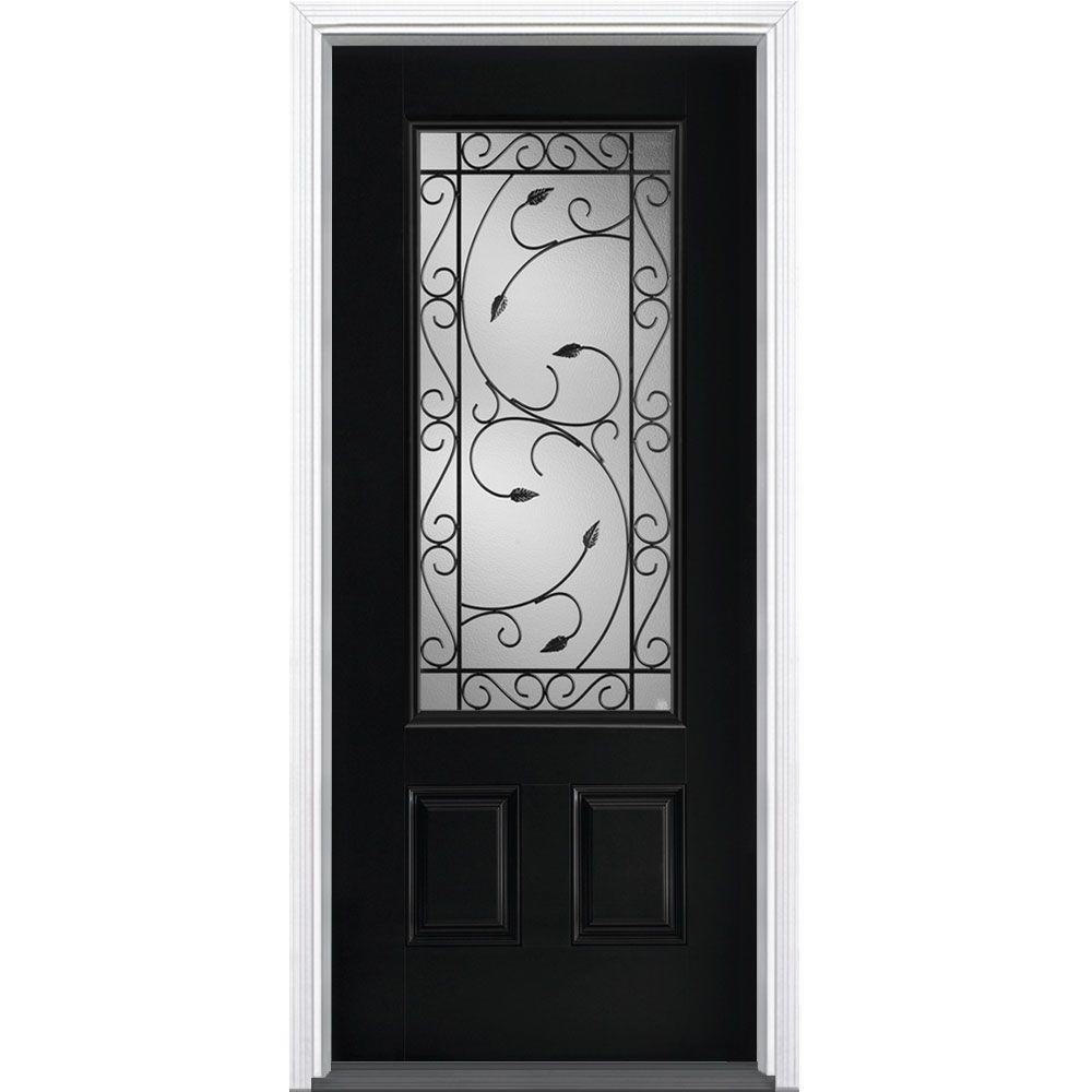 home depot prehung exterior door. Masonite 36 in  x 80 Pergola Jet Black 3 4 Lite Right Hand