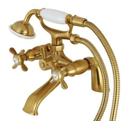 Victorian 6 in. Deck Mount 3-Handle Claw Foot Tub Faucet with Handshower in Satin Brass