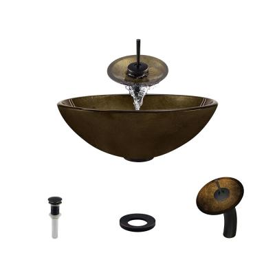 Glass Vessel Sink in Foil Undertone with Waterfall Faucet and Pop-Up Drain in Antique Bronze