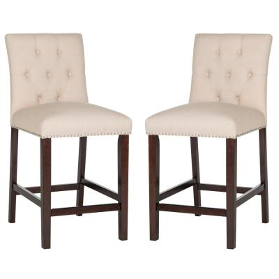 Norah 27.5 in. Counter Stool in Beige (Set of 2)