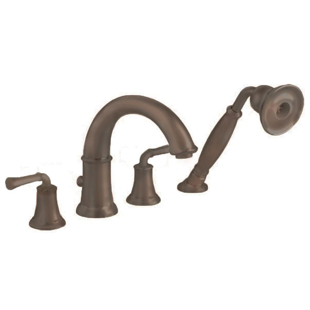 Portsmouth Lever 2-Handle Deck-Mount Roman Tub Faucet with Handshower in Oil