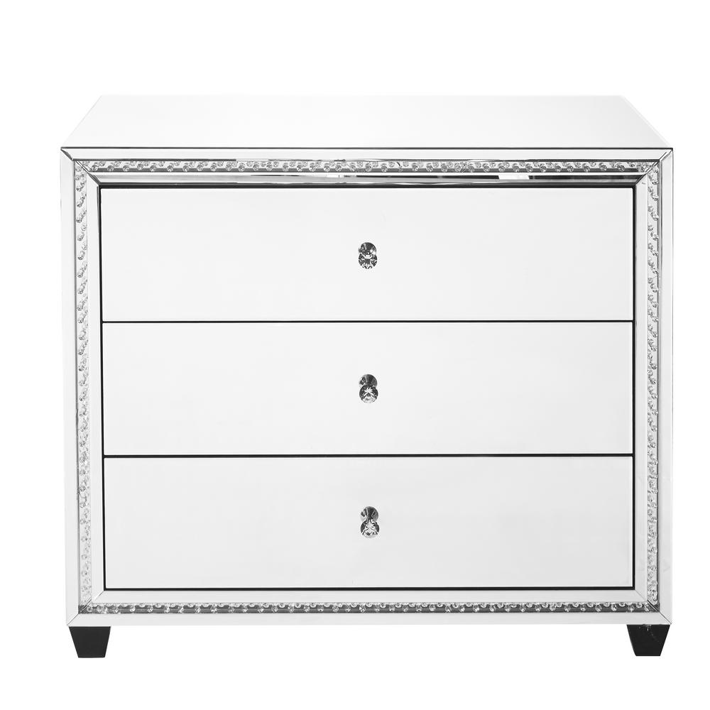 Hudson Assembled 39.5x33.5x20 in. Base Crystal Cabinet with 3-Drawers  Rectangle Mirror Top in Clear