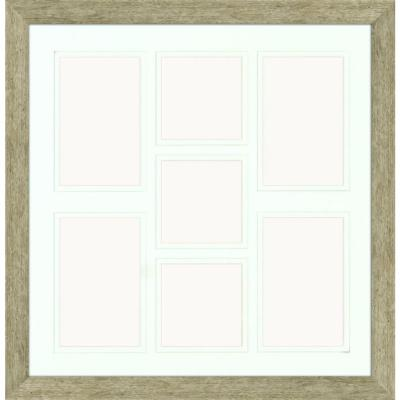 7-Opening Holds (4) 4 in. x 6 in. and (3) 4 in. x 4 in. Matted Champagne Photo Collage Frame (Set of 2)
