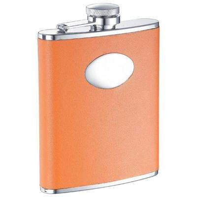Sunbeam Orange Leather Stainless Steel Hip Flask