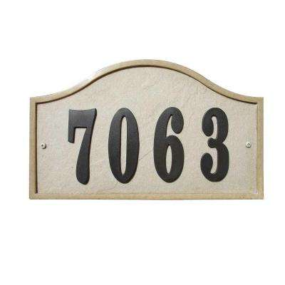 Ridgestone Serpentine Arched Crushed Stone Address Plaque in Sandstone Stone