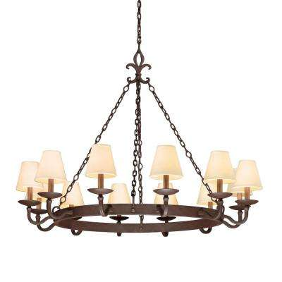 Lyon 12-Light Chandelier Burnt Sienna with Hardback Linen Shades