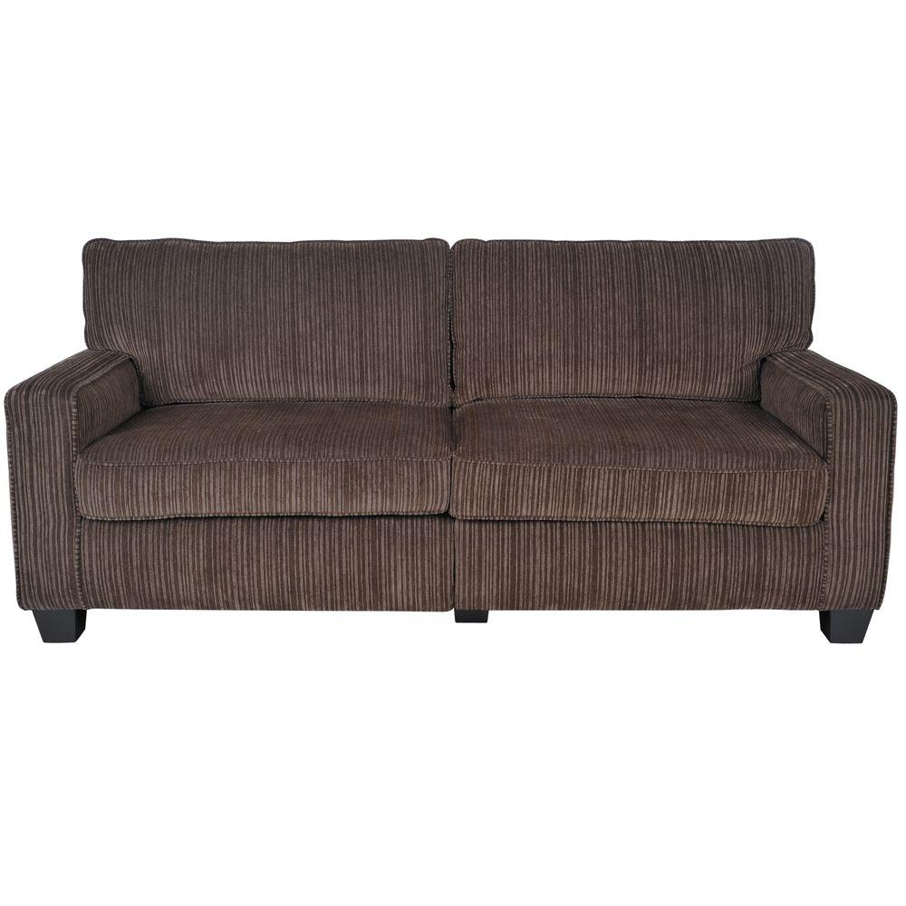 RTA San Paolo 78 in. Brown Polyester 2-Seater Sofa with Square Arms