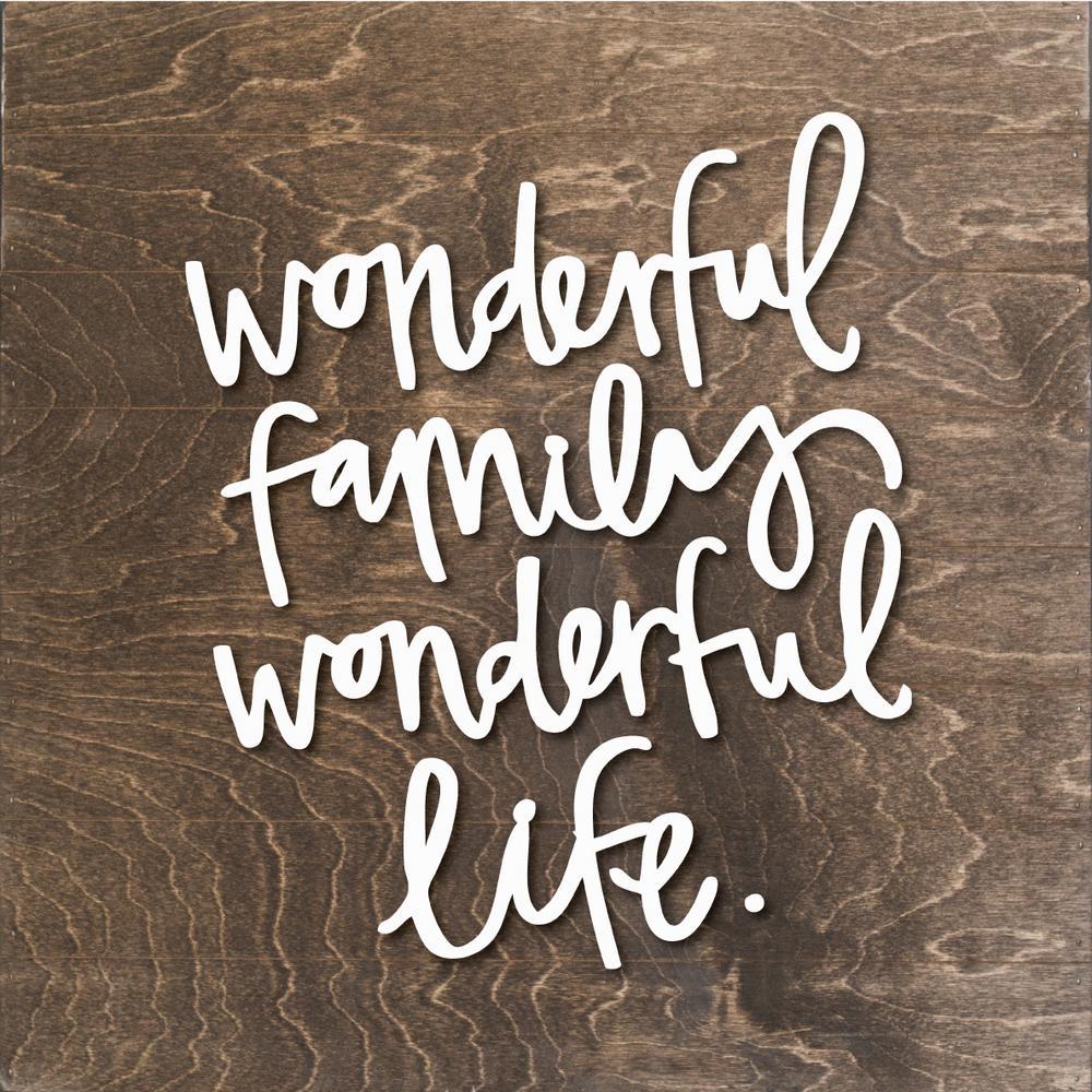 Wonderful Family Wood Slat Board, BROWN, WHITE LETTERS, Memo Board