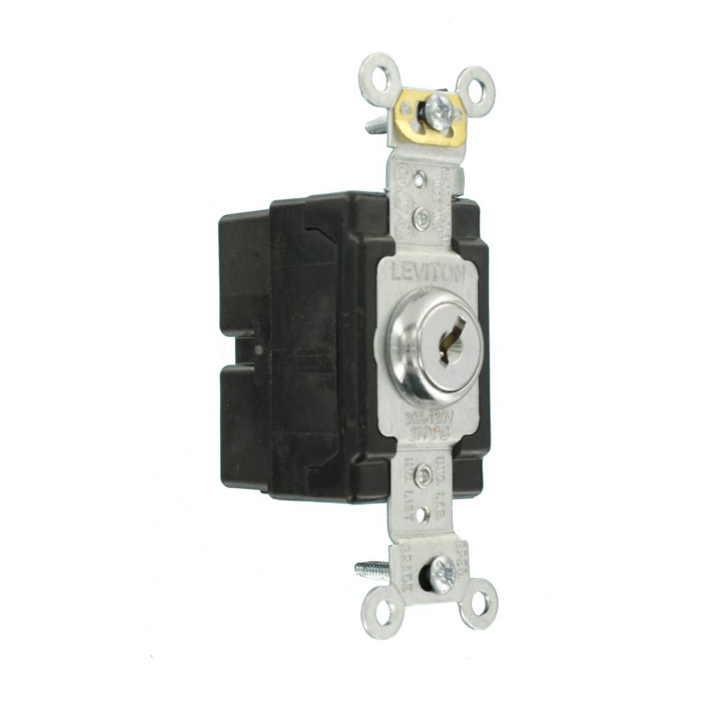 Double-Pole Extra Heavy Duty Grade Key Locking Chrome 120//277 Volt Leviton 1222-2KL 20 Amp AC Quiet Switch