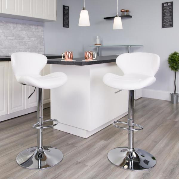 Flash Furniture Adjustable Height White Cushioned Bar Stool CH321WH