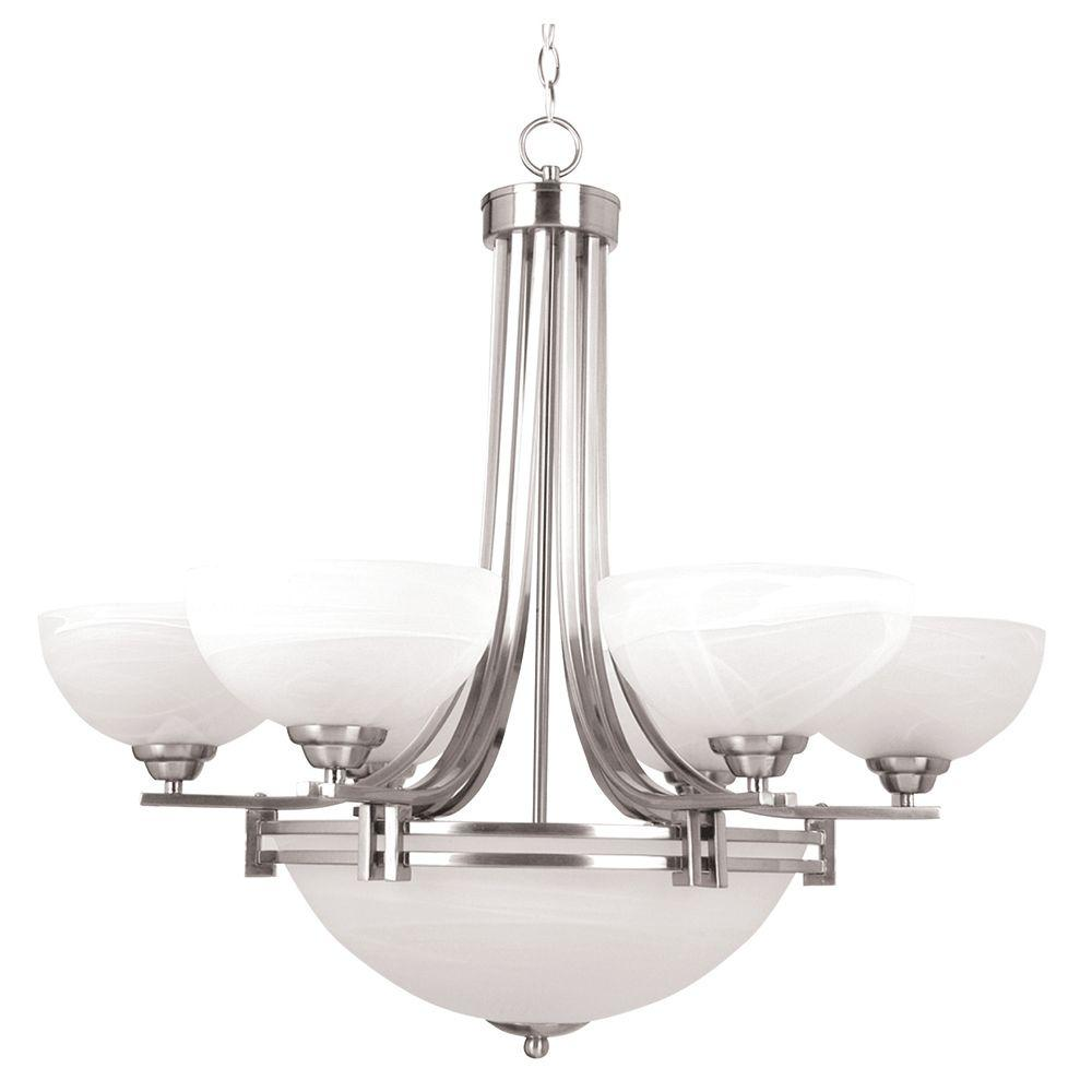 Yosemite Home Decor Sequoia Collection 7-Light Satin Nickel Hanging Chandelier with Frosted Alabaster Glass Shade