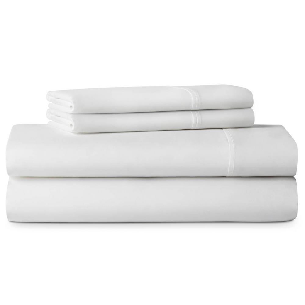 4-Piece Brushed Microfiber White King Size Sheet Set